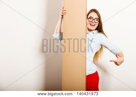 Woman Showing Blank Copy Space Banner.