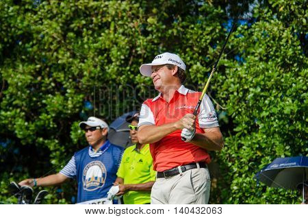 CHONBURI - DECEMBER 13 : Jason Knutzon of USA player in Thailand Golf Championship 2015 at Amata Spring Country Club on December 13 2015 in Chonburi Thailand.