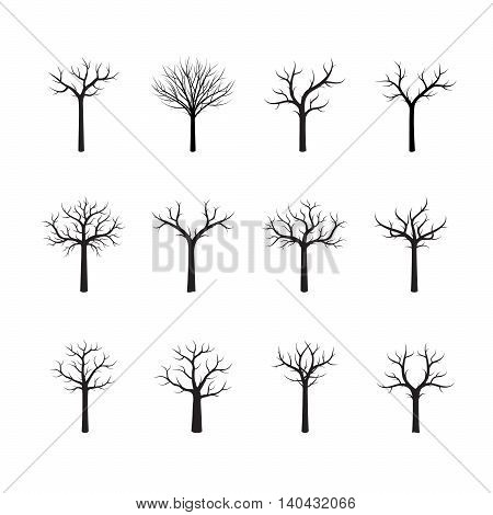 Set of black vector trees. Illustration and Graphic Element.