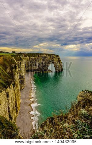 Landscape before sunset in Etretat Cliff, Normandy, France