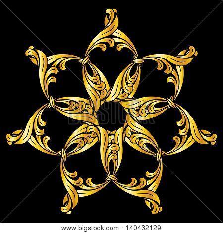 Ornate flower pattern in golden shades on black background