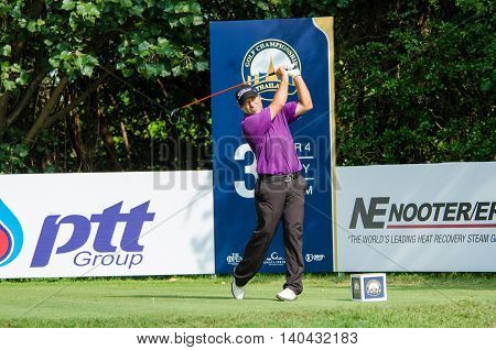 CHONBURI - DECEMBER 13 : Terry Pilkadaris of Australia player in Thailand Golf Championship 2015 at Amata Spring Country Club on December 13 2015 in Chonburi Thailand.