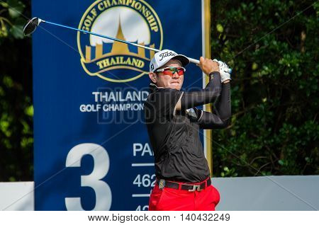 CHONBURI - DECEMBER 13 : Sattaya Supupramai of Thailand player in Thailand Golf Championship 2015 at Amata Spring Country Club on December 13 2015 in Chonburi Thailand.