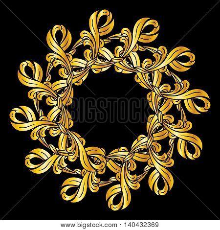 Ornate golden pattern. Illustration on black background