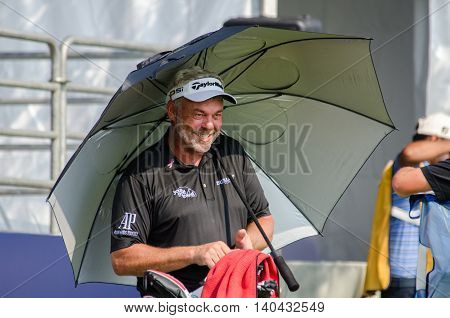 CHONBURI - DECEMBER 13 : Darren Clarke of Northern Ireland player in Thailand Golf Championship 2015 at Amata Spring Country Club on December 13 2015 in Chonburi Thailand.