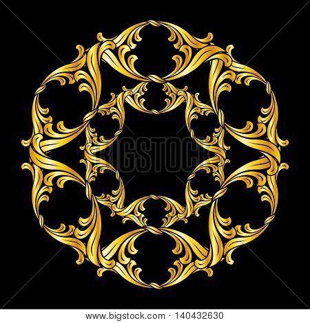 Ornate flower in gold colors. Illustration on black background