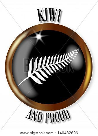 New Zealand icon button with a gold metal circular border over a white background with the text Kiwi and Proud