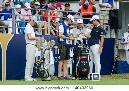 CHONBURI - DECEMBER 13 : Martin K. Sergio G. and Byeonghun A. player in Thailand Golf Championship 2015 at Amata Spring Country Club on December 13 2015 in Chonburi Thailand.