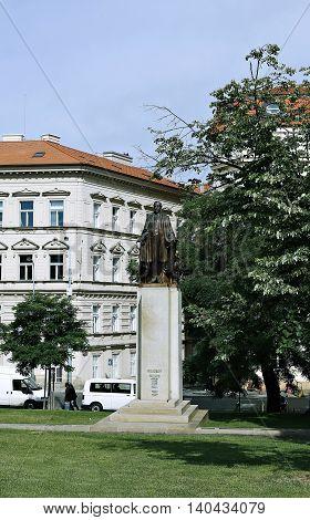PRAGUE, CZECH REPUBLIC - JUNE 16, 2016: Woodrow Wilson Monument in Prague