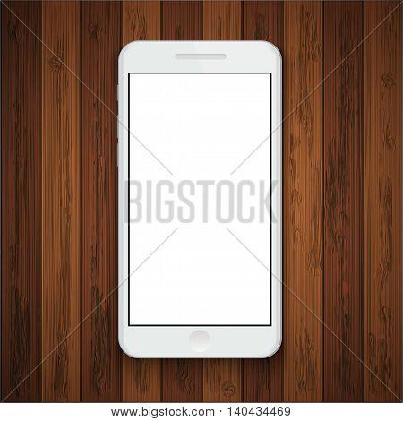 Vector modern smartphone on wooden background. Eps10
