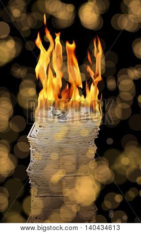 conceptual image of burning money pile
