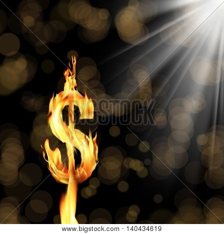 conceptual image of burning dollar sign.