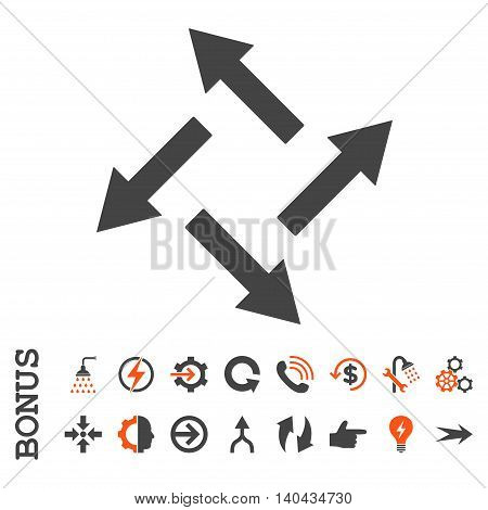 Centrifugal Arrows glyph bicolor icon. Image style is a flat pictogram symbol, orange and gray colors, white background.