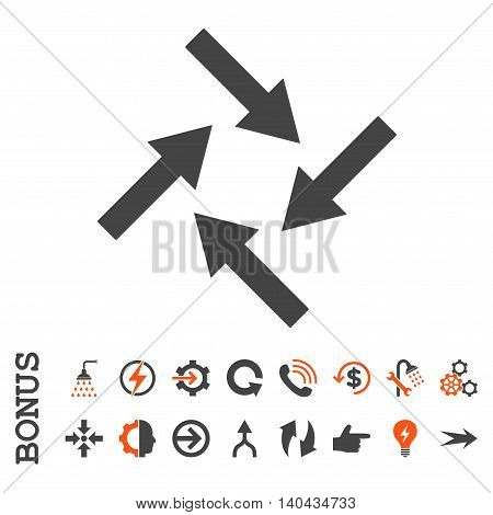 Centripetal Arrows glyph bicolor icon. Image style is a flat pictogram symbol, orange and gray colors, white background.