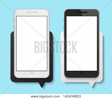 Vector modern smartphone with bubble speech banner background. Eps10