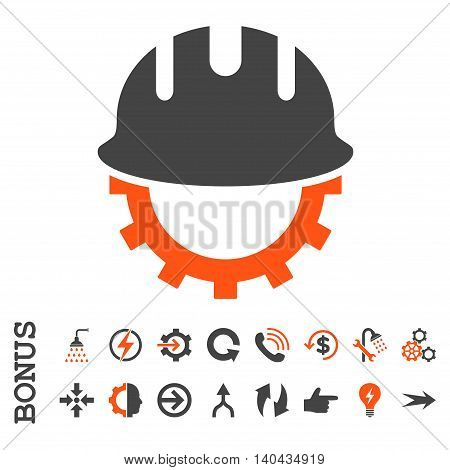 Development Hardhat glyph bicolor icon. Image style is a flat iconic symbol, orange and gray colors, white background.