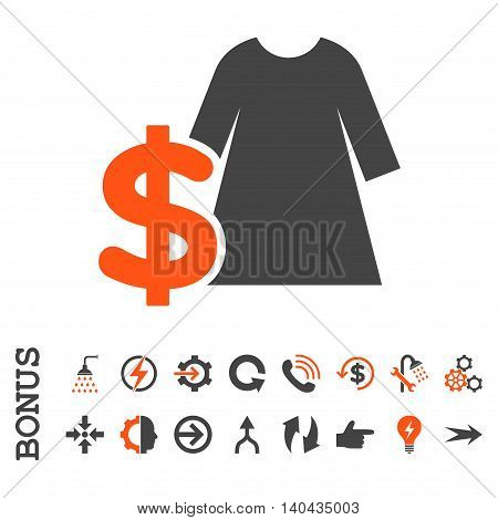Dress Price glyph bicolor icon. Image style is a flat iconic symbol, orange and gray colors, white background.