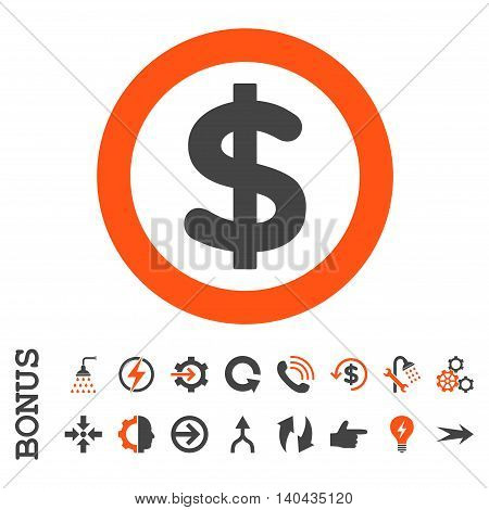 Finance glyph bicolor icon. Image style is a flat iconic symbol, orange and gray colors, white background.
