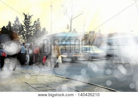 people on busy city street .