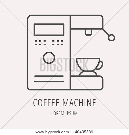 logo or label Coffee. Line style logotype template with coffee machine. Easy to use business template. Vector abstract logo or emblem.
