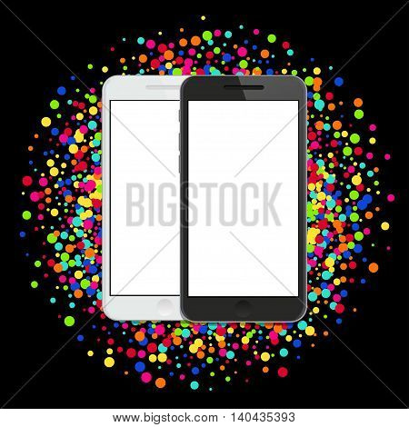 Vector modern smartphone on colorful abstract waves background. Eps10