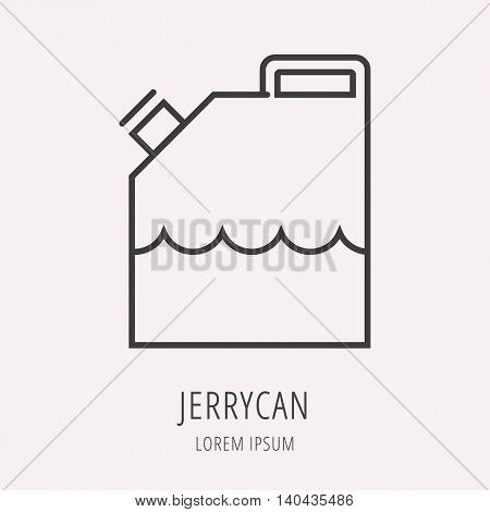 logo or label oil. Line style logotype template with jerrycan. Easy to use business template. Vector abstract logo or emblem.