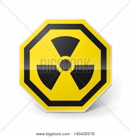 Shiny metal warning sign of radiation on white background