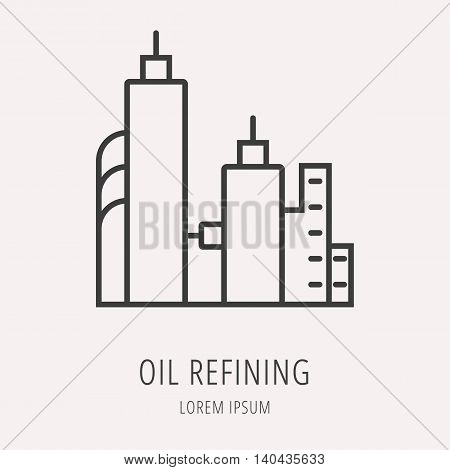 logo or label oil. Line style logotype template with refining. Easy to use business template. Vector abstract logo or emblem.