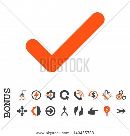 Ok glyph bicolor icon. Image style is a flat iconic symbol, orange and gray colors, white background.