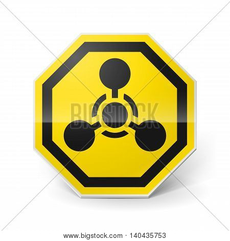 Shiny metal warning sign of chemical weapon on white background
