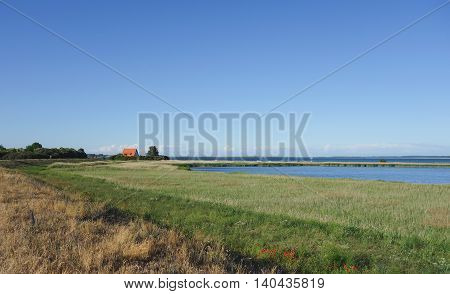 A single house in a beautiful landscape on Hiddensee island Germany