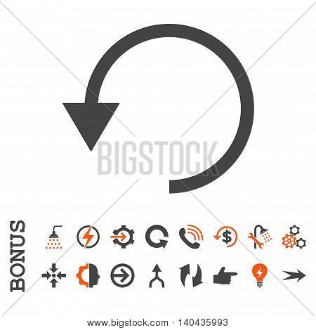 Rotate Ccw glyph bicolor icon. Image style is a flat pictogram symbol, orange and gray colors, white background.