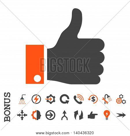 Thumb Up glyph bicolor icon. Image style is a flat iconic symbol, orange and gray colors, white background.