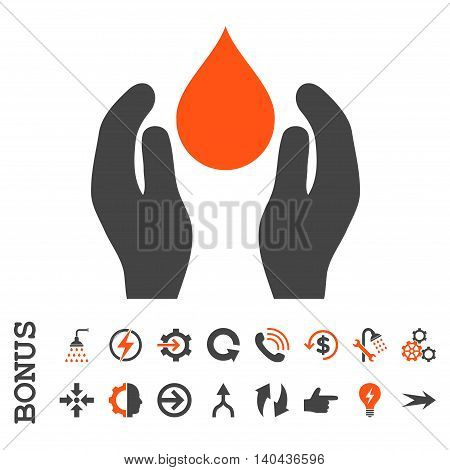 Water Care glyph bicolor icon. Image style is a flat pictogram symbol, orange and gray colors, white background.
