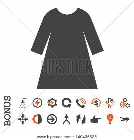 Woman Dress glyph bicolor icon. Image style is a flat pictogram symbol, orange and gray colors, white background.