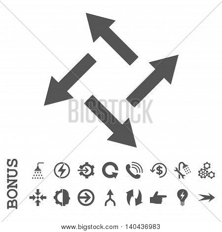 Centrifugal Arrows glyph icon. Image style is a flat iconic symbol, gray color, white background.