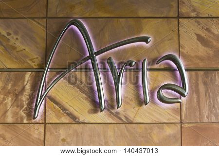 Las Vegas - Circa July 2016: Logo and Signage of the Aria Resort and Casino. The Aria is Owned by MGM Resorts International IV