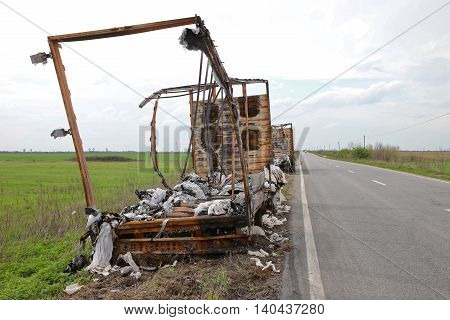 Truck and Trailer Destroyed in Fire on Side of the Road
