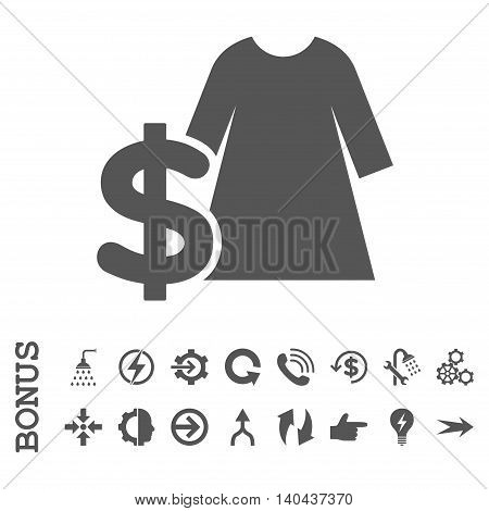 Dress Price glyph icon. Image style is a flat iconic symbol, gray color, white background.