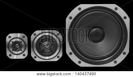 Closeup of three stereo speakers