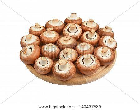 Champignon (true Mushroom) On Wooden Board