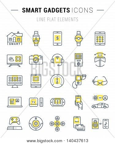 Set vector line icons with open path smart device and gadgets smart home car drones and other device with elements for mobile concepts and web apps. Collection modern infographic logo and pictogram