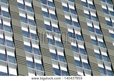 Close up of New York city modern building window pattern