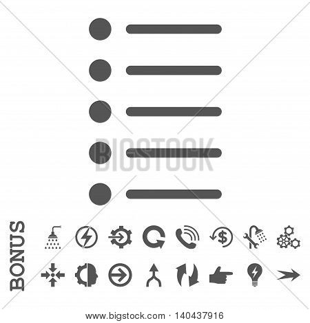 Items glyph icon. Image style is a flat iconic symbol, gray color, white background.