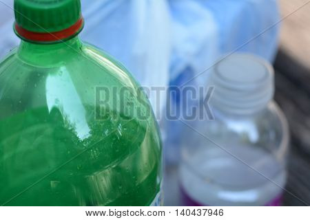 Plastic Bottles Ready to be Bagged for Recycling