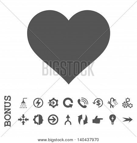 Love Heart glyph icon. Image style is a flat pictogram symbol, gray color, white background.