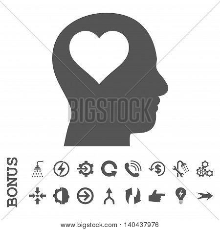 Lover Head glyph icon. Image style is a flat iconic symbol, gray color, white background.