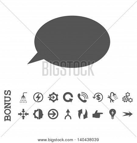 Message Cloud glyph icon. Image style is a flat iconic symbol, gray color, white background.