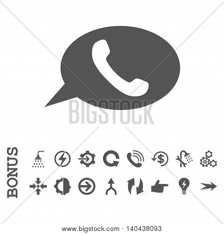 Phone Message glyph icon. Image style is a flat pictogram symbol, gray color, white background.