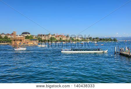 Zurich, Switzerland - 20 July, 2016: view on Lake Zurich with the